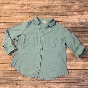 Eileen Fisher Linen & Cotton roll tab sleeve top